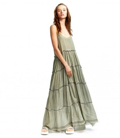 Gasa Bordada Long Dress