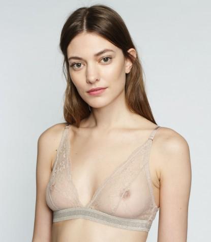 Nude Lace Halter Bra