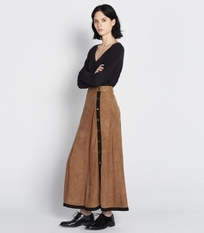 Suede Long Skirt