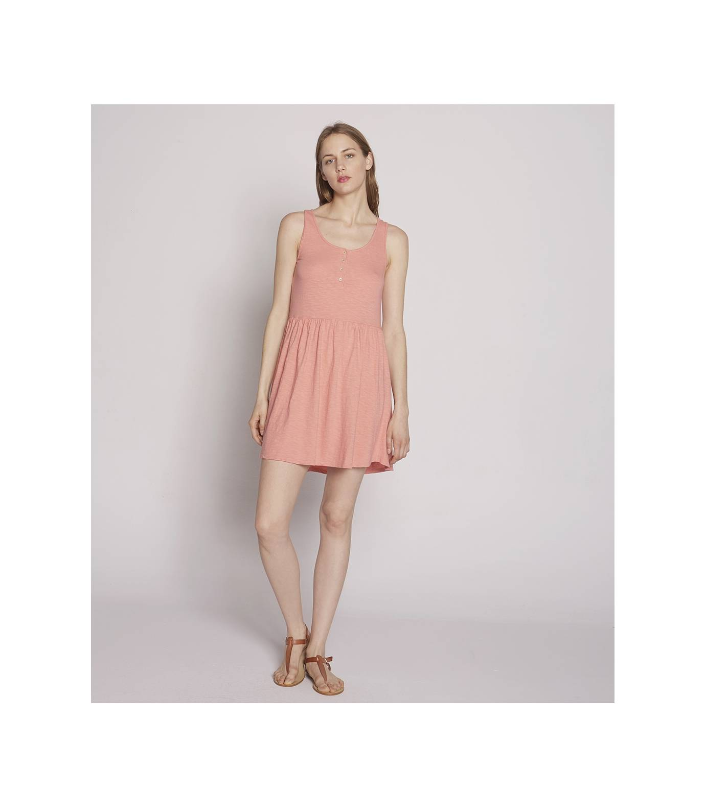 Slub Knit Dress Rose