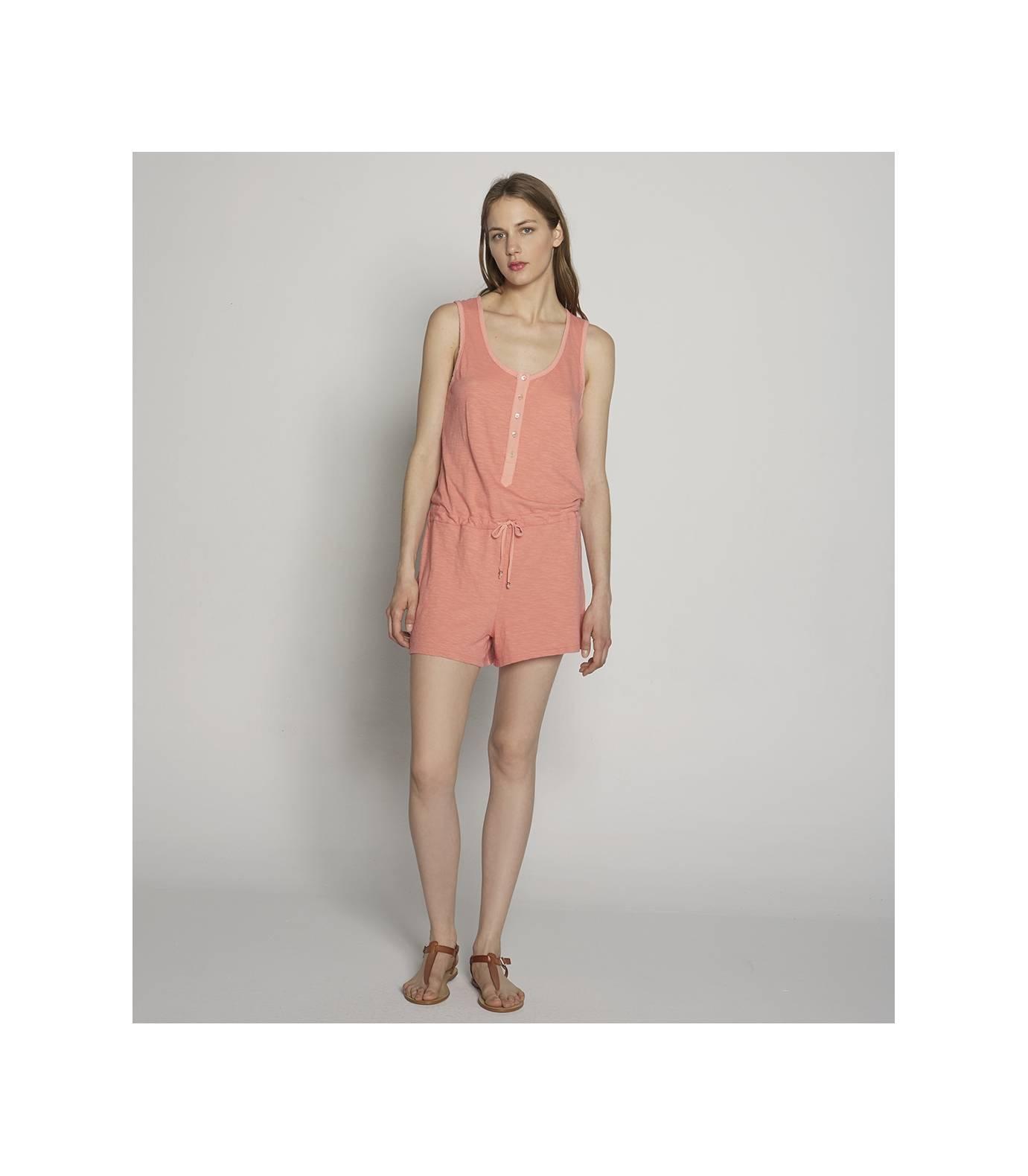 Slub Knit Short Jumpsuit Rose