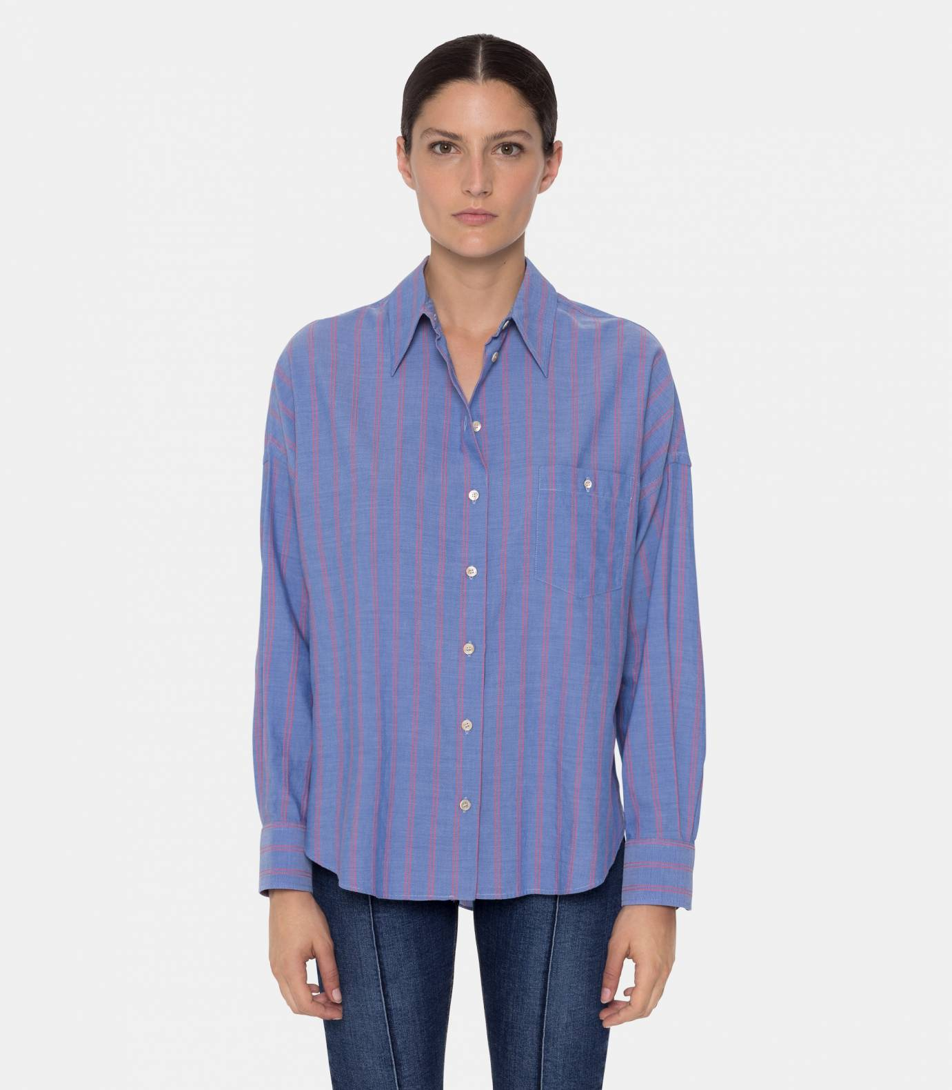 Shirt with coral stripes