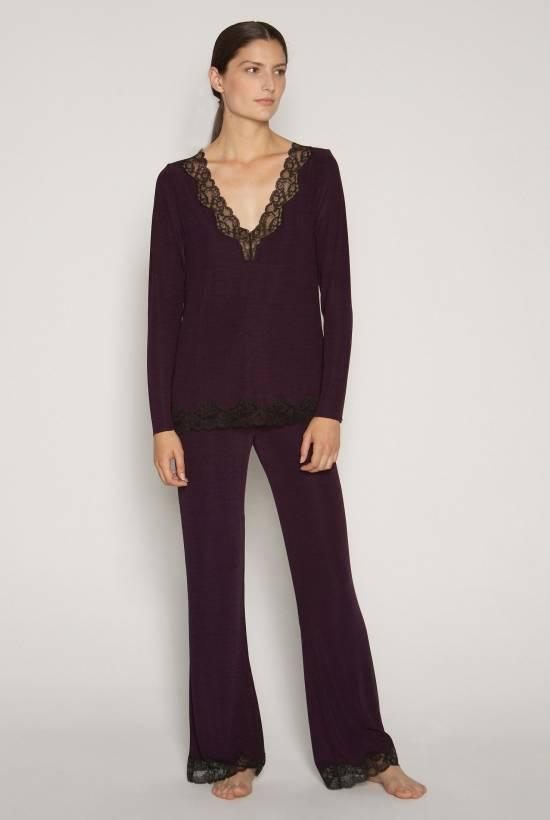 V-neck Ribbed Lace T-Shirt AUBERGINE