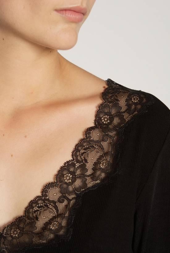 V-neck Ribbed Lace T-Shirt