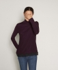 Turtleneck ribbed top with lace trim