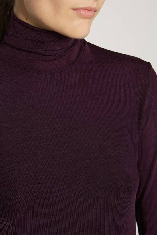Turtleneck ribbed top with lace trim AUBERGINE
