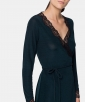 Ribbed dressing gown with lace trim