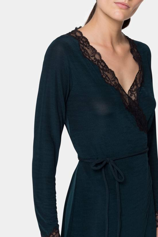 Ribbed dressing gown with lace trim DARK