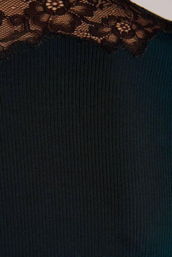 V-neck Ribbed Lace T-Shirt DARK