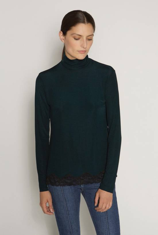 Turtleneck ribbed top with lace trim DARK