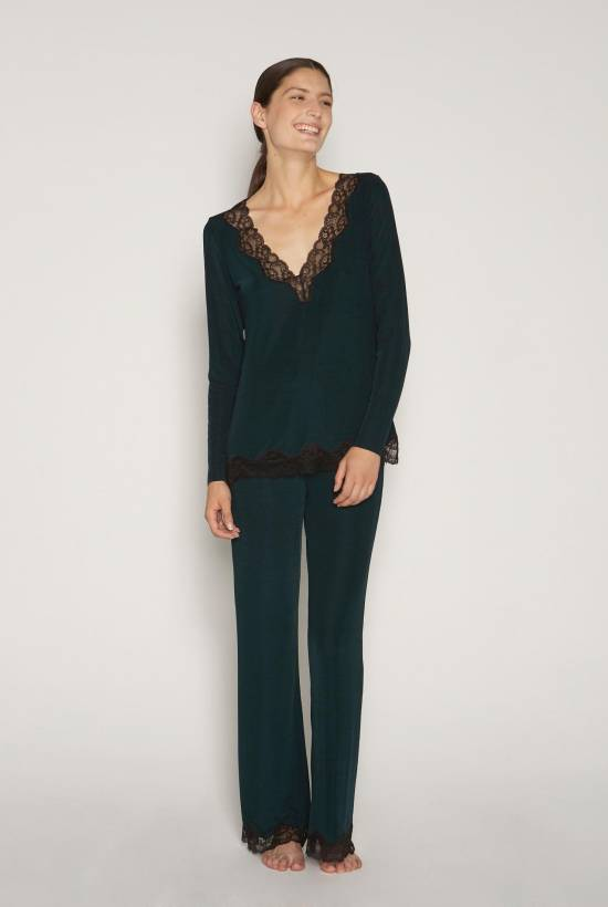 Ribbed Lace Trousers DARK