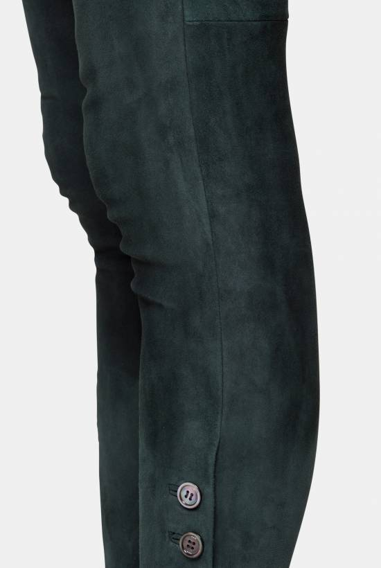 Suede skinny trousers DARK