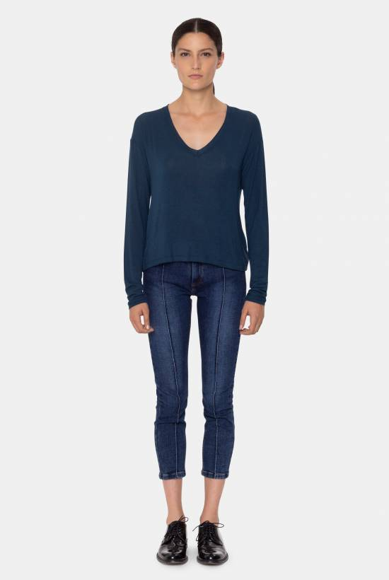 Wool viscose top  BLEU
