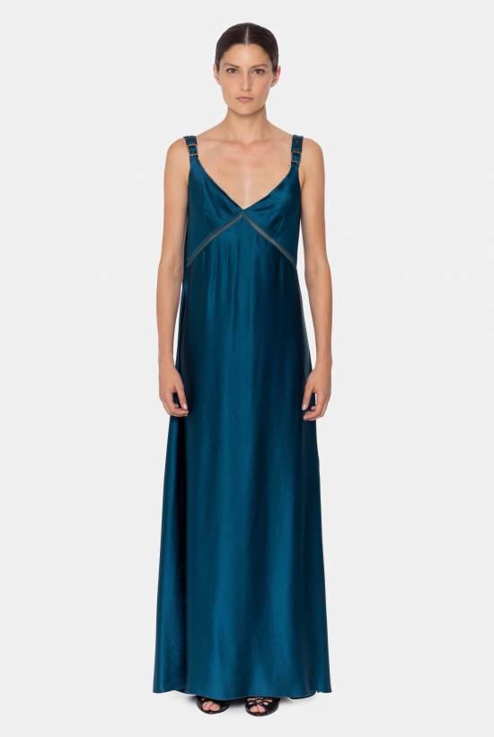 Satin strap dress BLEU
