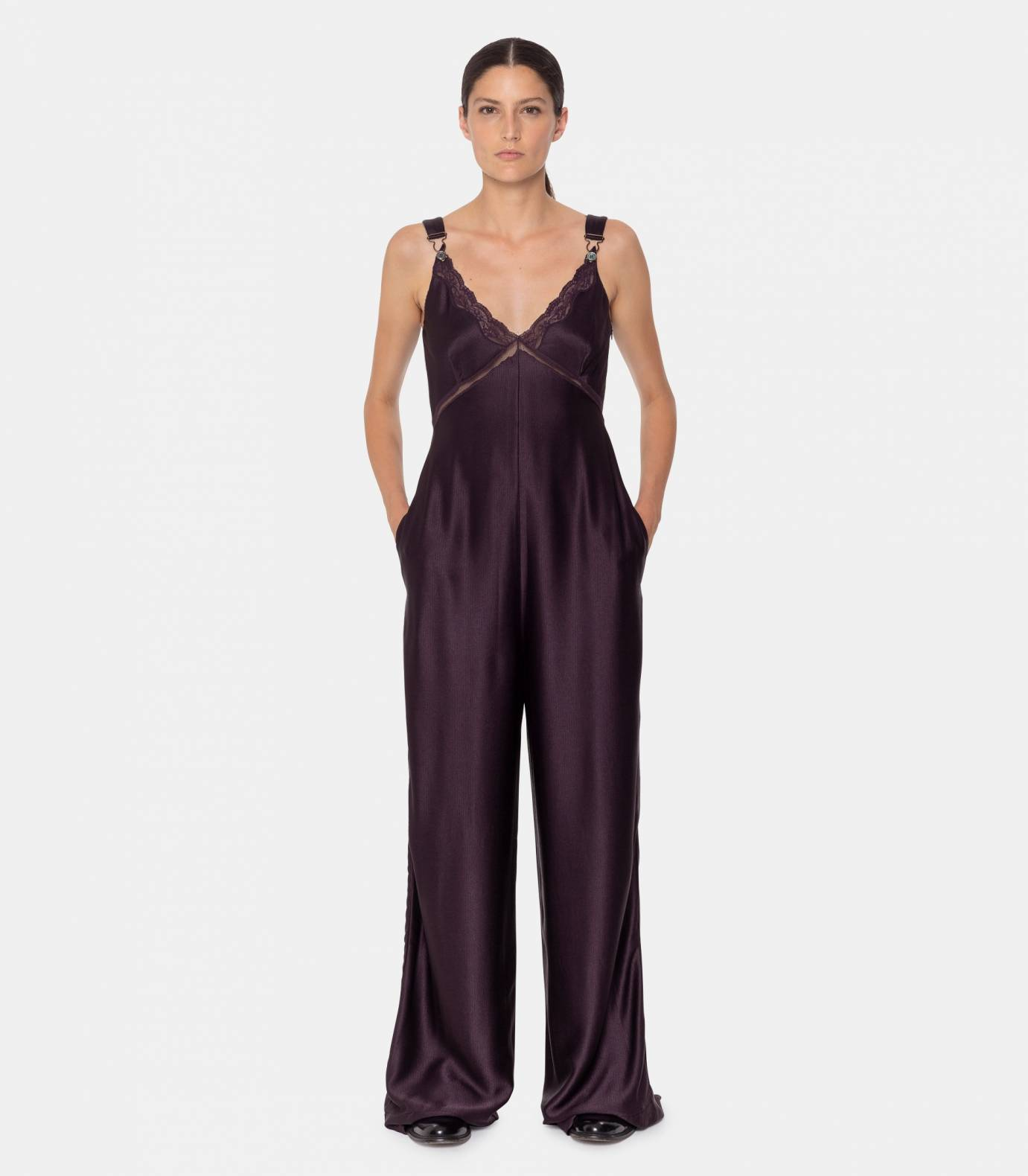 Satin strap jumpsuit