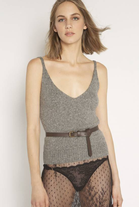 Camel hair and tricot top