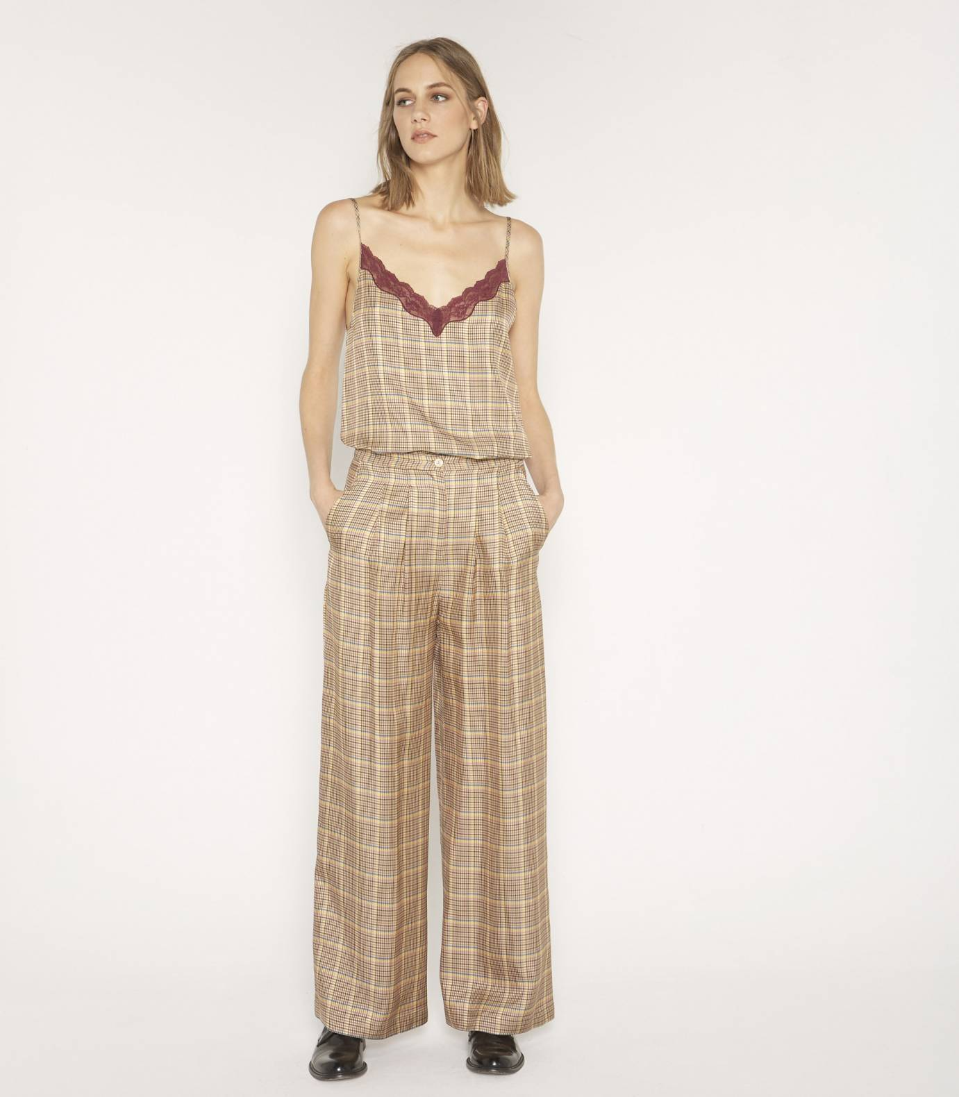 Viscose gingham trousers