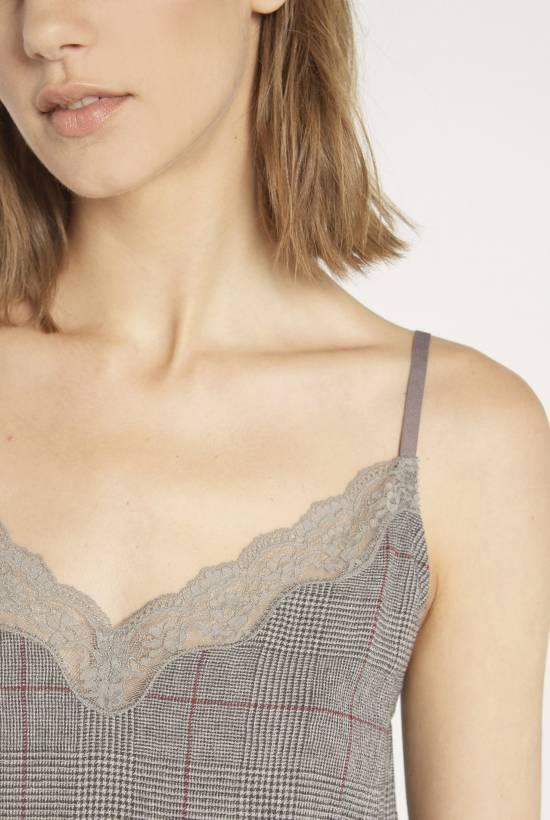 Grey check strap dress GRIS