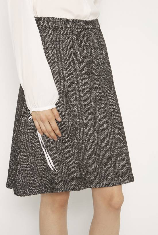 Herringbone wool skirt