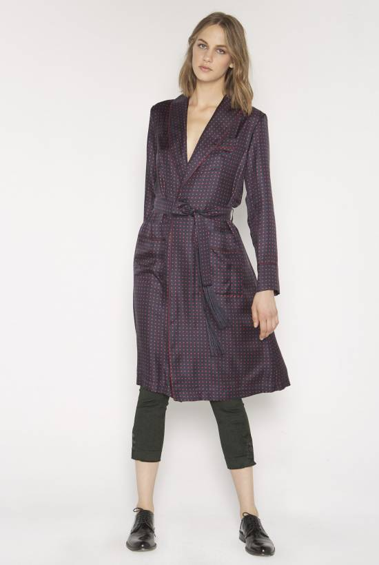 Spotty silk dress coat