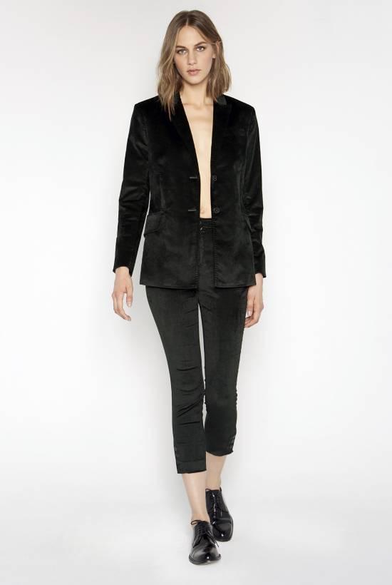 Skinny velvet trousers DARK