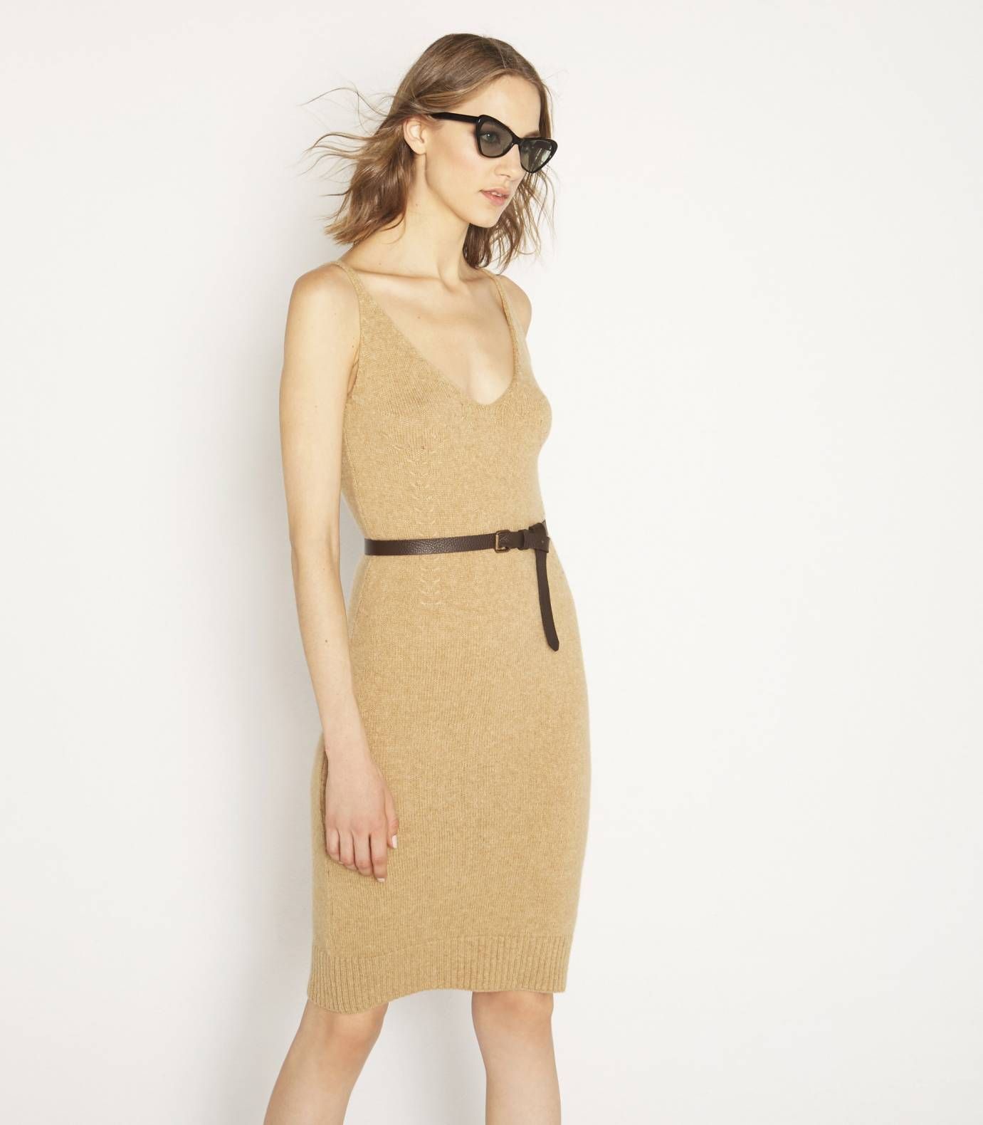 Camel hair and tricot dress