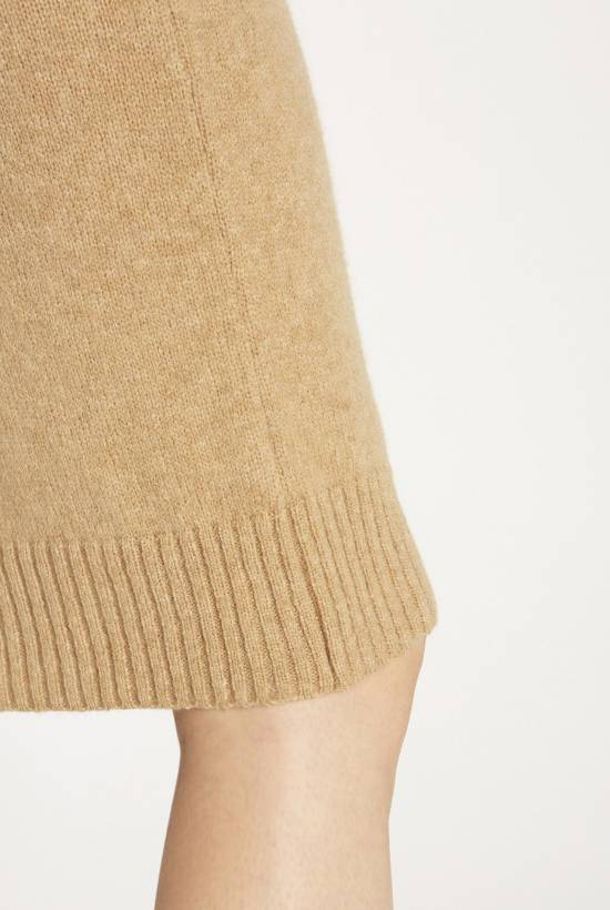 Camel hair and tricot skirt