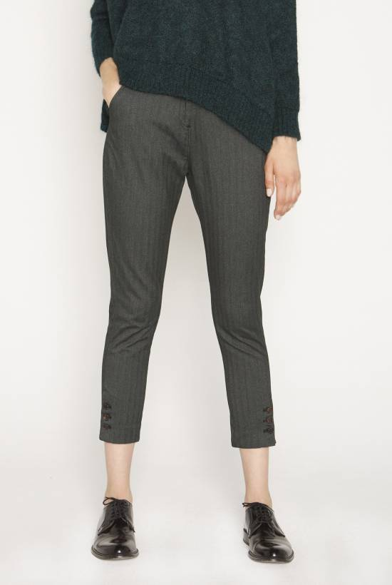 Skinny herringbone trousers