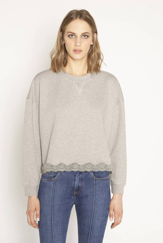 Fleece lace tweatshirt