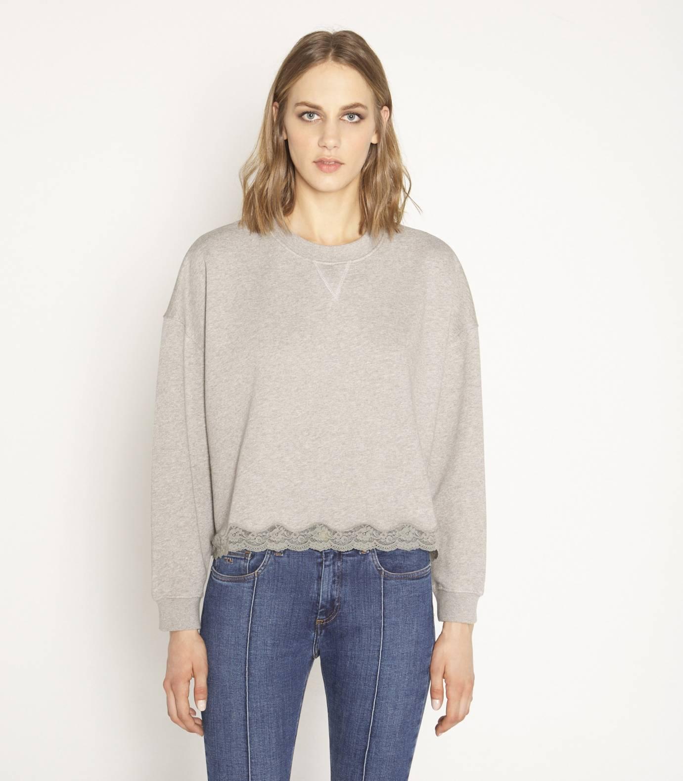 Fleece lace tweatshirt