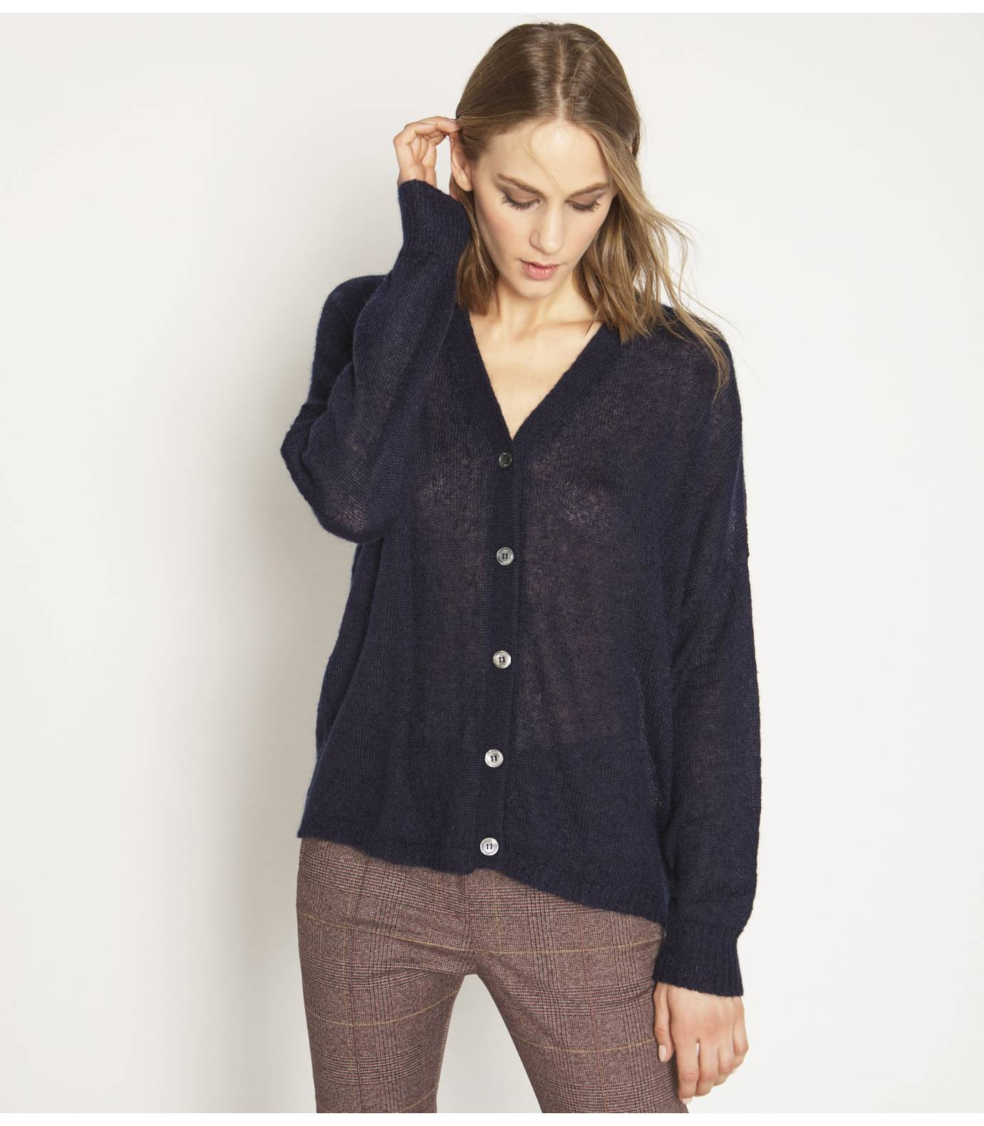 Tricot mohair cardigan