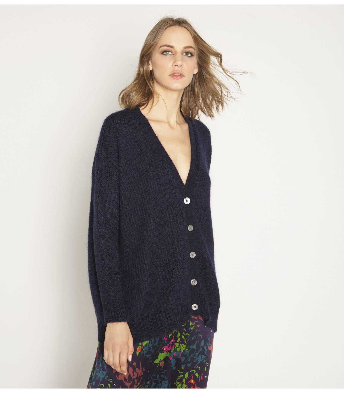 Oversize Tricot mohair cardigan