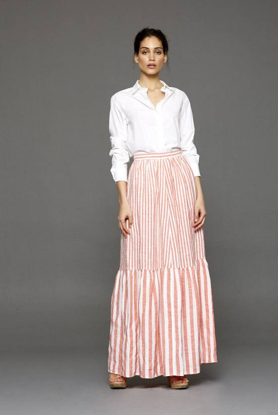 Capri Striped Long Skirt